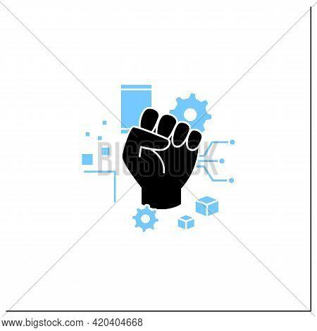 Digital Revolution Glyph Icon. Fist Up. Support Transition From Analog Technologies. Digital Transfo