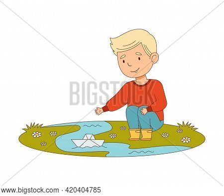Happy Boy Sitting And Playing With Paper Boat In Puddle Engaged In Spring Season Activity Vector Ill