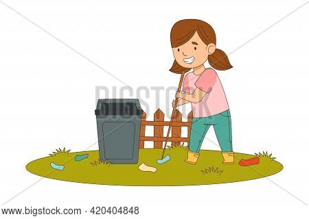 Cheerful Girl With Ponytails Enjoying Spring Season Engaged In Litter Pick Gathering Rubbish With St