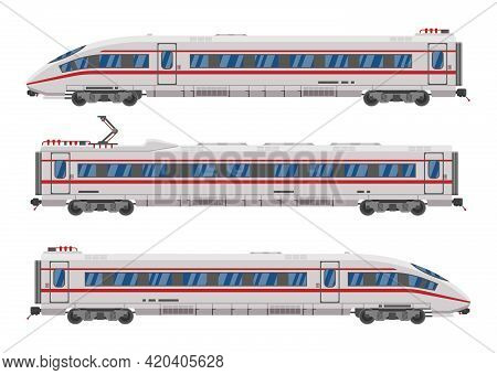 High Speed Train Isolated On White Background. Super Streamlined Train. Passenger Express Railway Lo