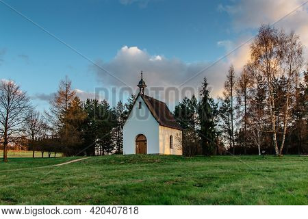 Small White Chapel Close To Pilgrimage Site Called Rokole And Bohdasin Village In Orlicke Mountains,