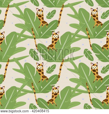 Wildcat Pattern. The Leopard Hides In The Tropical Thickets. Textile Print, Wrapping Paper