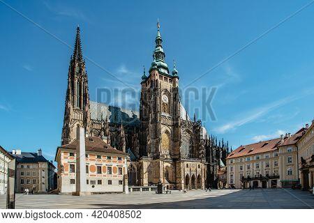Gothic St. Vitus Cathedral Within The Prague Castle Complex,czech Republic.most Important Famous Mon
