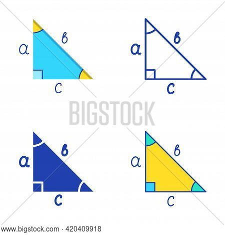 Right Triangle Icon Set In Flat And Line Style