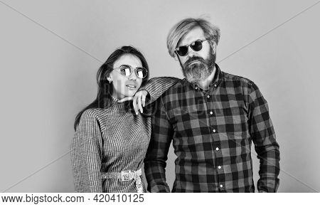 Fashionable Couple Posing. Street Style. Today Is A Good Day. Hipster Couple. Bearded Man With Dyed