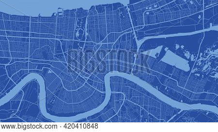 Blue New Orleans City Area Vector Background Map, Streets And Water Cartography Illustration. Widesc