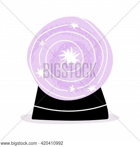 Cute Magic Crystal Ball, Future Teller With Texture And Stars In The Middle.
