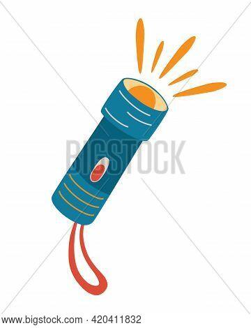 Flashlight Icon. Camping Lantern. Flashlight Lighting With Spotlight Or Flash.  Flat Design Blue Por