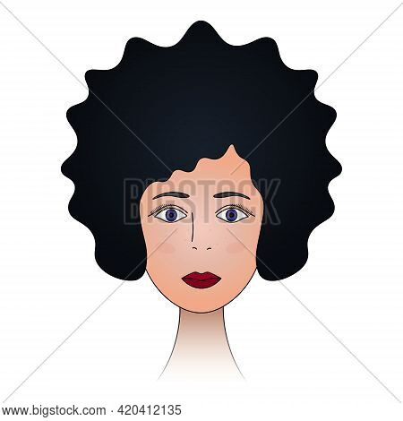 Lady's Face. Black Hair, Violet Eyes. The Head Of The Girl In Full Face. Colored Vector Illustration