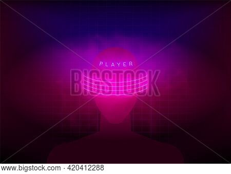 Virtual Reality Gaming. Abstract Human Face Surrounded By Neon Glowing Pink Lines With Haze And Titl