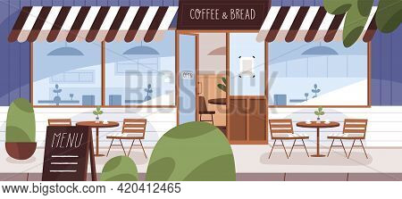 Modern Cafe Exterior With Summer Terrace And Furniture On Street. Cozy Coffee Shop Facade With Open