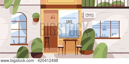 Cafe Exterior With Street Terrace. Modern Coffee Shop Building With Tables And Chairs Outside. Front