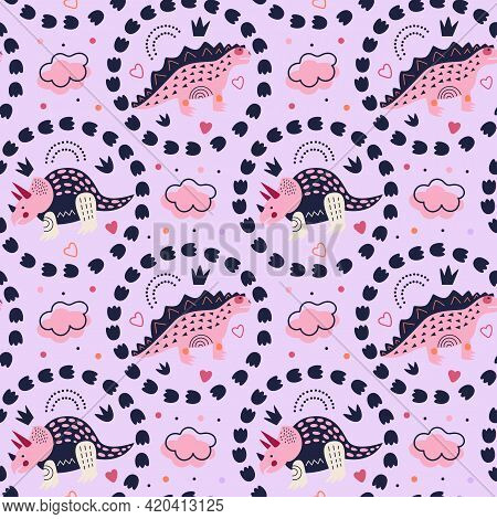 Vector Illustration. Seamless Pattern. Triceratops And Stegosaurus On Soft Pink Background. Rainbow