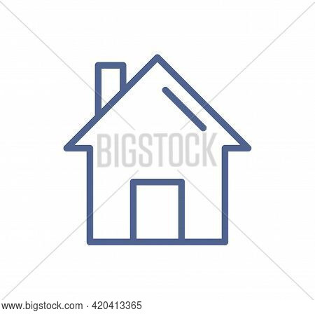 Home Web Page Icon In Line Art Style. Simple House Pictogram For Website Interface. Ui Symbol Of Mai