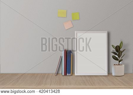 Frame Or Poster Mock Up In Living Room And With Postit With White Walls. Modern And Floral Concept
