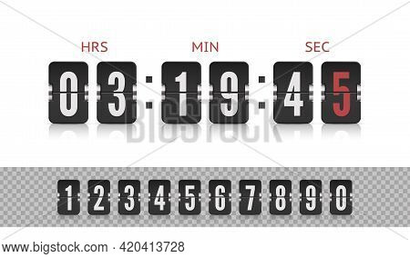 Scoreboard Number Font. Vector Vintage Flip Clock Time Counter. Analog Airport Board Countdown Timer