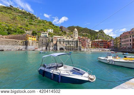 View On Seaside And Typical Colorful Houses In Small Village, Riviera Di Levante, Vernazza, Cinque T