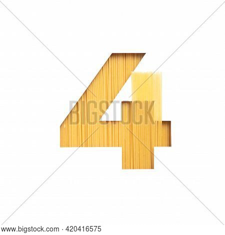 Number Four Made Of Spaghetti And White Cut Paper In Shape Of Fourth Numeral. Typeface Of Pasta. Ita