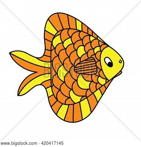 Triangular Goldfish Hand Drawn, Cartoon Cute Animal, Isolated Clipart Vector Illustration