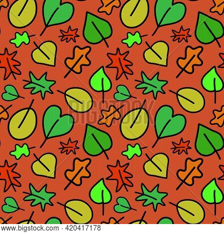 Autumn Leaves On An Orange Background Seamless Pattern, Green Orange Leaf. Simple Flat Style Vector