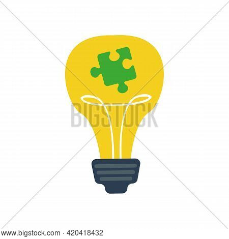 A Yellow Incandescent Light Bulb With A Puzzle Piece Inside. Autism Symbol. Psychological Disorder H