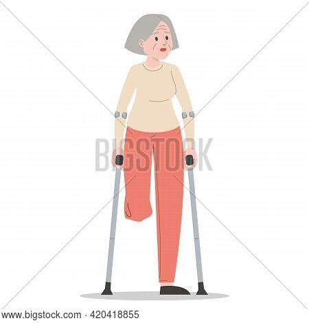 Senior Woman On Crutches Isolated. Injured Lady