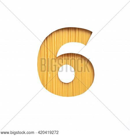 Number Six Made Of Italian Pasta Spaghetti, White Cut Paper In Shape Of Sixth Numeral. Typeface For