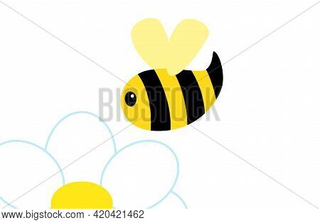 Abstract Cartoon Bee Flying Over The Chamomile.