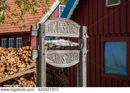 Nida, Lithuania - May 10 2021: Smoked Fish Restaurant At Curonian Spit In Nida Fishermen's Village,