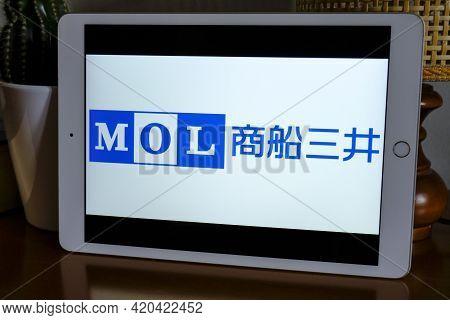 May 2021 Milan, Italy: Mol Company Logo Icon Close-up On Tablet Display. Mol Brand Illustrative Logo