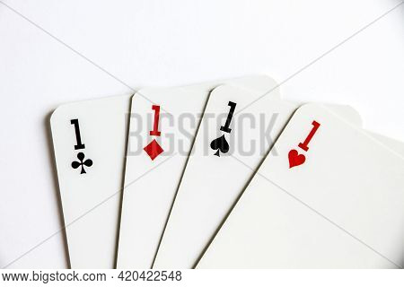 Four Aces Playing Card Game Isolated On White Background.