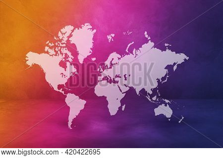 World Map Isolated On Rainbow Wall Background. 3d Illustration