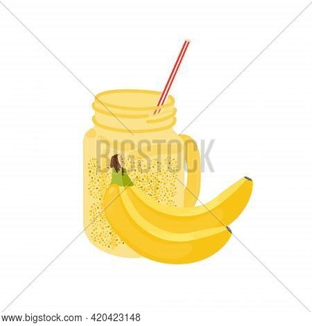 Banana Smoothie In Cartoon Flat Style On White Background. Healthy Lifestyle, Raw Food. Healthy Food