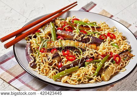 Eggplant Green Bean Noodle Salad On A Plate On A White Textured Table With Chopsticks, Horizontal Vi
