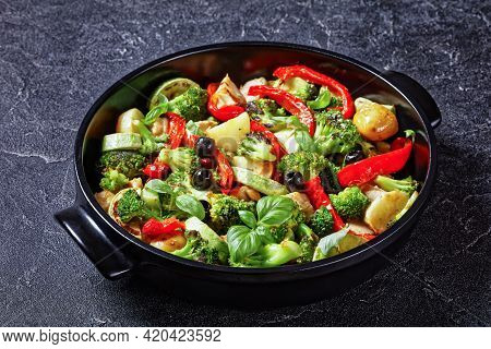 Vegetable And Chicken Bake Of New Potato, Broccoli, Red Pepper, Courgette, Black Olives With Fresh B