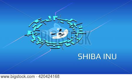 Shiba Inu Shib Isometric Token Symbol Of The Defi Project In Digital Circle On Blue Background. Cryp