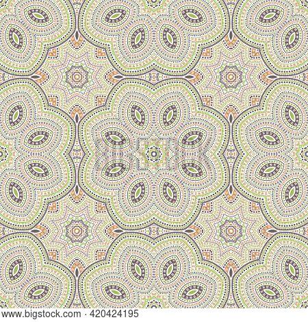 Ottoman Ethnic Mosaic Vector Seamless Ornament. Batik Patchwork Design. Modern Asian Motif. Interior