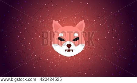 Shiba Inu Shib Token Symbol Of The Defi Project Cryptocurrency Theme On A Blue Polygonal Background.