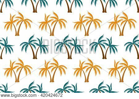 Cute Coconut Tropical Palm Tree Seamless Pattern Summer Holiday Vector Print. Exotic Leaves Tropical