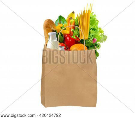 Paper Bag Full Of Different Groceries On White Background