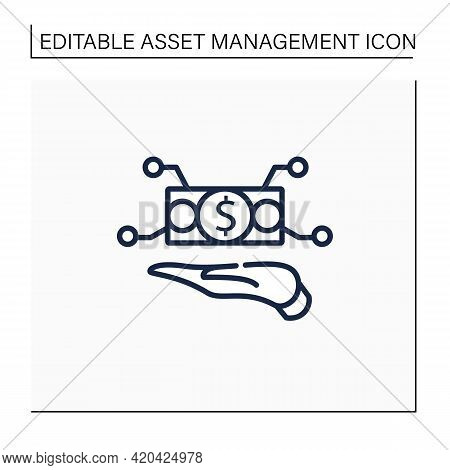 Physical Asset Management Line Icon. Hand Keeps Cash. Managing Physical And Infrastructure Assets. B
