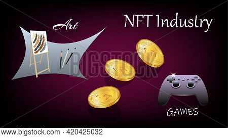 Banner Of Non-fungible Nft Tokens In Art And Gaming Industry With Easel And Console Gamepad With Iso