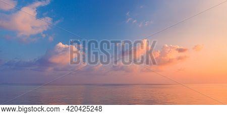 Closeup Sea Sky Beach. Panoramic Seascape Landscape. Inspire Tropical Beach Skyscape Horizon. Orange