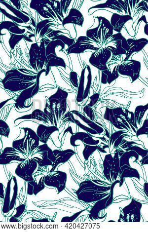 Spotted Seamless Pattern With Mix Of Silhouettes And Contour Of Lilies Flowers, Buds And Leaves Draw