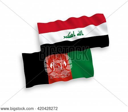 National Fabric Wave Flags Of Islamic Republic Of Afghanistan And Iraq Isolated On White Background.