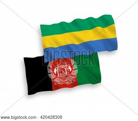 National Fabric Wave Flags Of Islamic Republic Of Afghanistan And Gabon Isolated On White Background