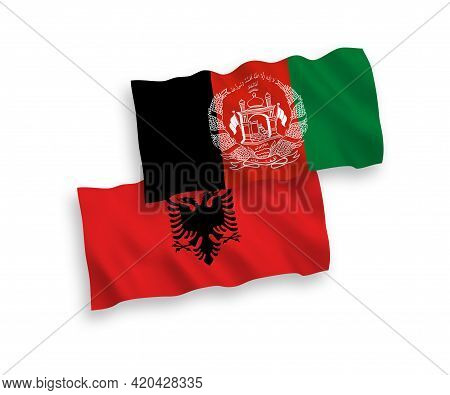 National Fabric Wave Flags Of Islamic Republic Of Afghanistan And Albania Isolated On White Backgrou