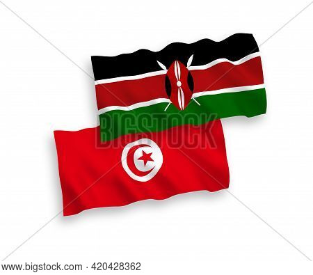 National Fabric Wave Flags Of Republic Of Tunisia And Kenya Isolated On White Background. 1 To 2 Pro