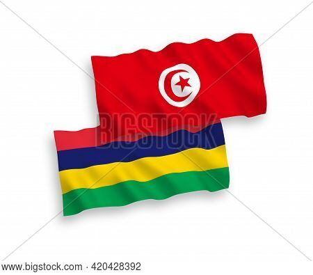 National Fabric Wave Flags Of Republic Of Tunisia And Republic Of Mauritius Isolated On White Backgr