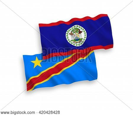 National Fabric Wave Flags Of Belize And Democratic Republic Of The Congo Isolated On White Backgrou
